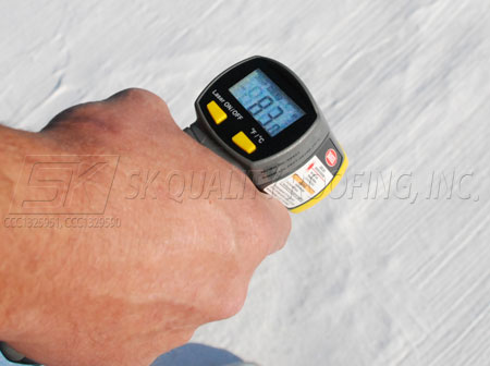 Infrared Thermometer on Elastomeric 83 Degrees after roof coating