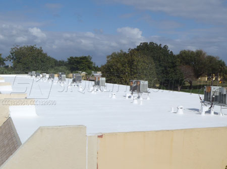 After roof coating applied